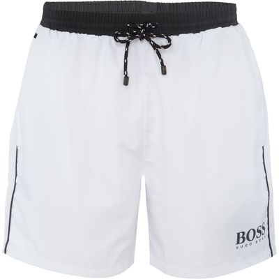 Men's Hugo Boss Starfish Contrast Waistband Swim Shorts, White