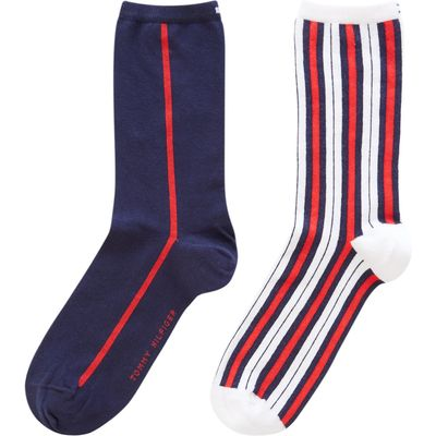 Tommy Hilfiger Classic Series 2 Pack Vertical Stripe, White Asst