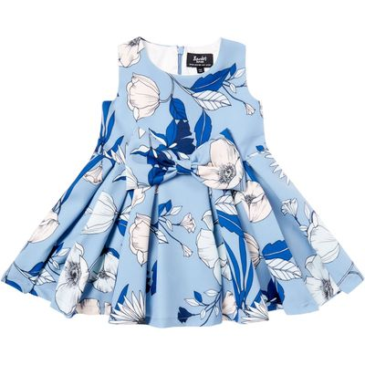 Bardot Baby Baby Girls Front Bow Floral Print Dress, Blue