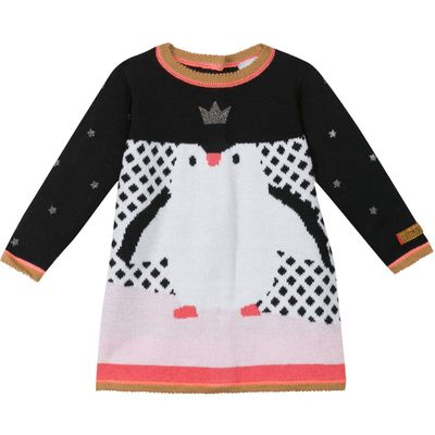Catimini Baby girls Penguin Knitted dress, Black
