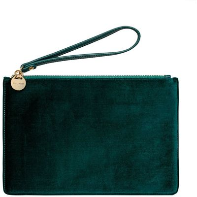 Hallhuber Velvet Clutch with Wrist Strap, Blue