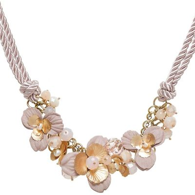 Hallhuber Cord necklace with floral embellishments, Pink
