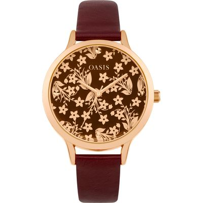 Oasis Ladies red  strap watch, Red