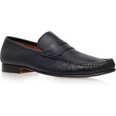 Stemar Deerskin Penny Loafer Slip On, Black