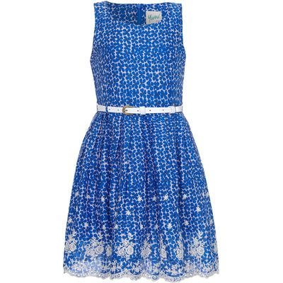 Yumi Girls Floral Print Lace Hem Dress, Blue