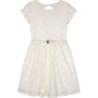 Yumi Girls Girls Lace Skater Dress, Cream