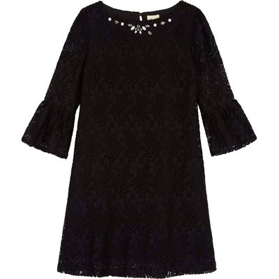 Yumi Girls Lace Funnel Sleeve Shift Dress, Black