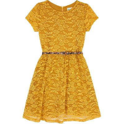 Yumi Girls Lace Skater Dress with Floral Belt, Yellow