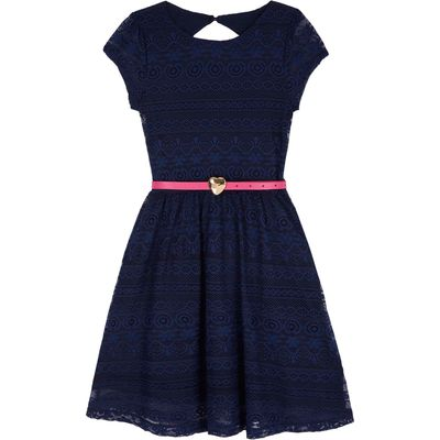 Yumi Girls Lace Skater Dress with Heart Belt, Navy