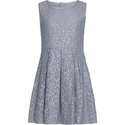 Yumi Girls Sequin Floral Lace Pleated Dress, Grey
