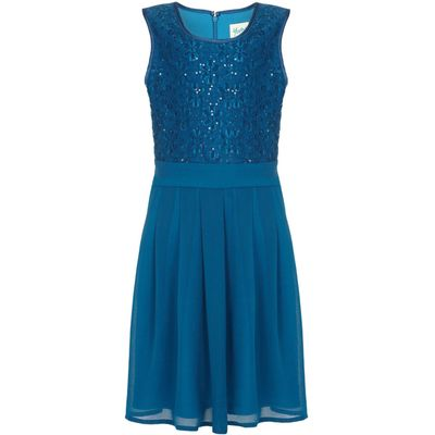 Yumi Girls Sequin Floral Lace Party Dress, Blue