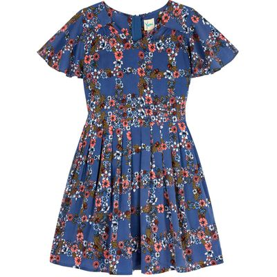 Yumi Girls Wildflower Check Print Day Dress, Blue