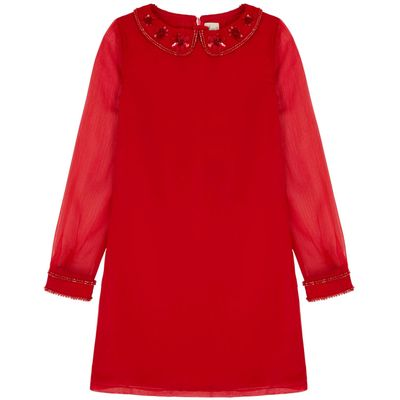 Yumi Girls Sequin Embellished Shift Dress, Red