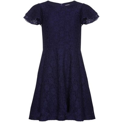 Yumi Girls Sequin Lace Dress, Navy