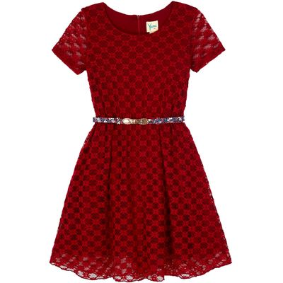 Yumi Girls Lace Belted Party Dress, Red