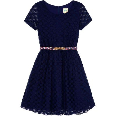 Yumi Girls Lace Belted Party Dress, Blue
