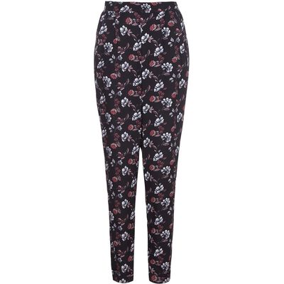 Yumi Floral Trousers, Black