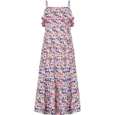 Yumi Girls Butterfly Print Frill Maxi Dress, White