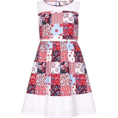 Yumi Girls Floral Patchwork Dress, Multi-Coloured