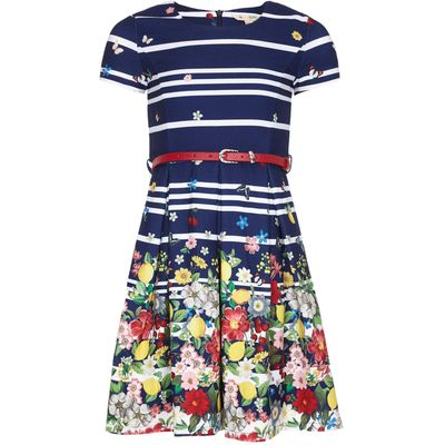 Yumi Girls Floral Stripe Belt Dress, Blue
