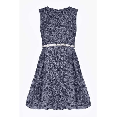 Yumi Girls Cherry Lace Dress, Blue