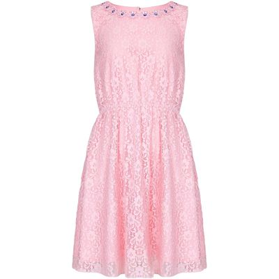 Yumi Girls Lace Embellished Neckline Dress, Pink