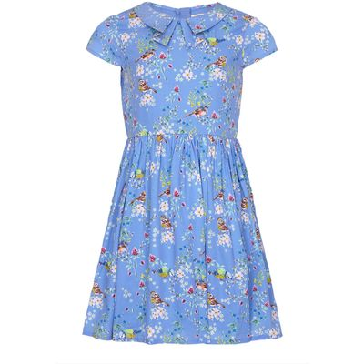Yumi Girls Bird Tea Dress, Blue