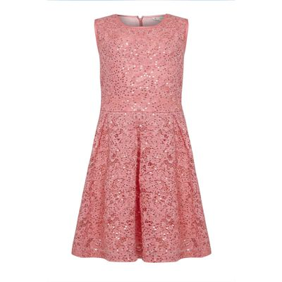 Yumi Girls Sequin Lace Party Dress, Red