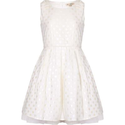 Yumi Girls Polka Dot Party Dress, Cream