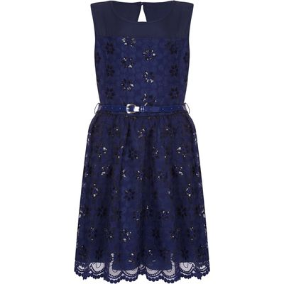 Yumi Girls Embroidered Floral Prom Dress, Blue