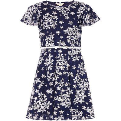 Yumi Girls Floral Lace Belt Dress, Blue