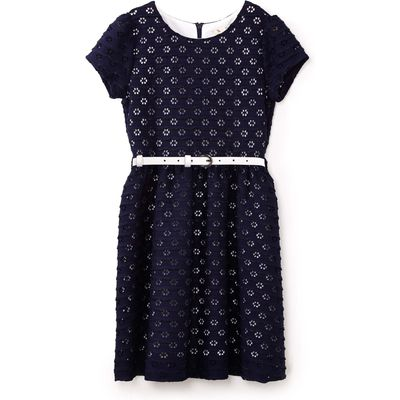 Yumi Girls Floral Lace Belted Dress, Blue