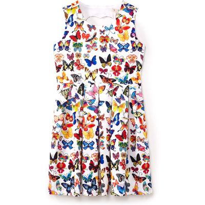 Yumi Girls Multi Butterfly Print Dress, Multi-Coloured