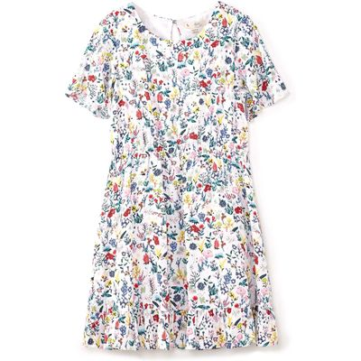Yumi Girls Field Flower Print Dress, White