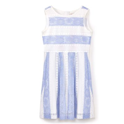 Yumi Girls Stripe Lace Dress, Blue