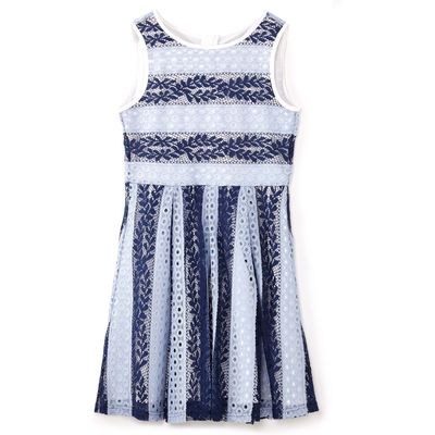 Yumi Girls Stripe Branch Lace Dress, Blue