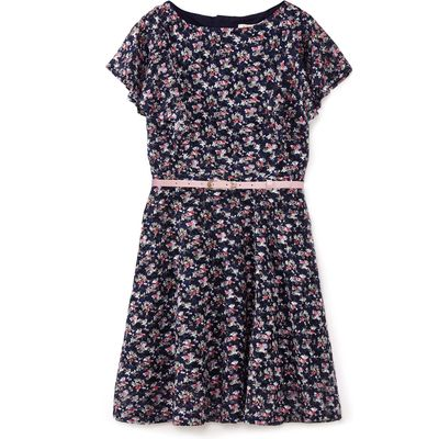 Yumi Girls Floral Lace Frill Sleeve Dress, Blue