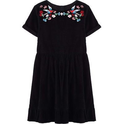 Yumi Girls Floral Embroidered Folk Dress, Black