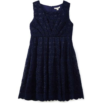 Yumi Girls Scalloped Lace Dress, Blue
