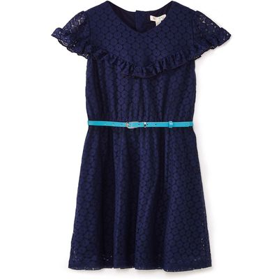 Yumi Girls Lace Dress With Belt, Blue