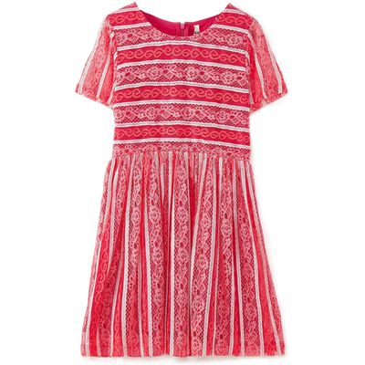 Yumi Girls Panelled Lace Dress, Red