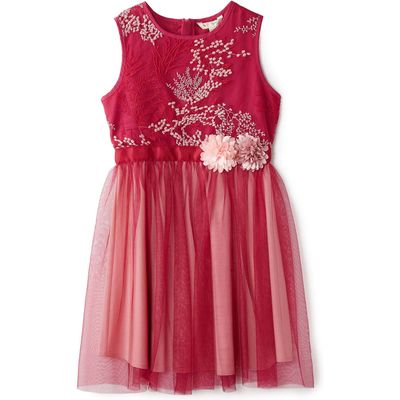 Yumi Girls Floral Embroidered Dress, Pink