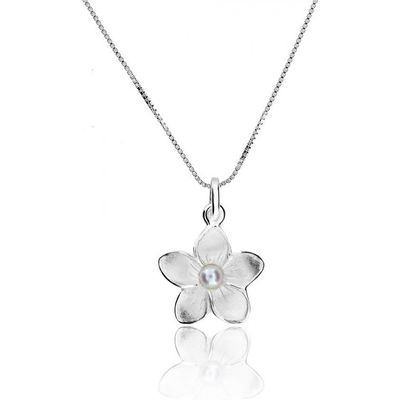 Azendi Silver & pearl frosted flower pendant, N/A