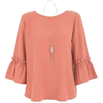 Quiz Pink Crepe Frill Sleeve Necklace Top, Pink