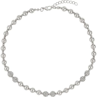 Mikey Twin crystal ball & metal bead necklace, White