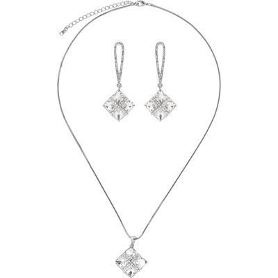 Mikey Square Design Necklace Earring Set, White