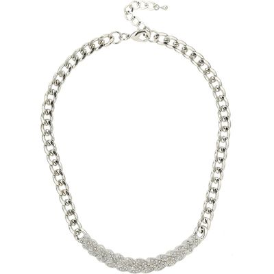 Mikey Woven Design Crystals Choker, White