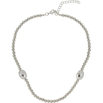 Mikey Twin crystal oval bead necklace, White