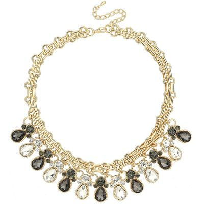Mikey Oval Crystals Drops Heavy Metal Choker, White