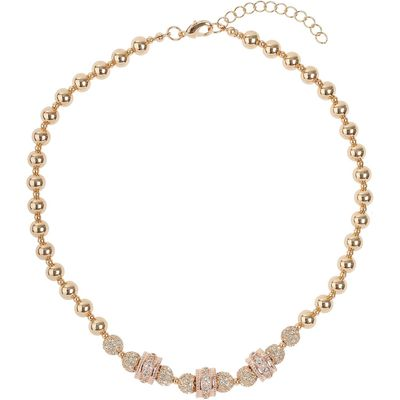 Mikey Cubic crystal triple ring balls necklace, Gold
